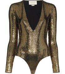 gucci sequinned bodysuit - black
