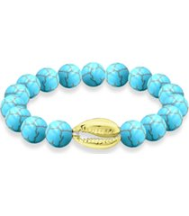 genuine stone bead puka cowrie shell stretch bracelet in fine silver plate or gold plate