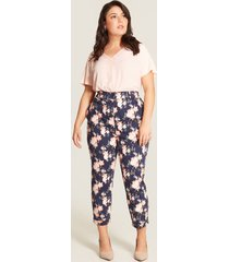 pantalon con estampado de flores azul 24