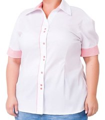 camisa confidencial extra plus size de tricoline com viés listrado feminina