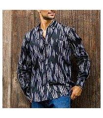 men's cotton batik shirt, 'pebble lights' (indonesia)