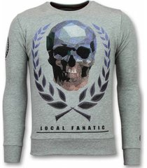 sweater local fanatic doodskop trui - skull rhinestone sweater -