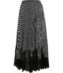 ermanno scervino lace detail checked skirt