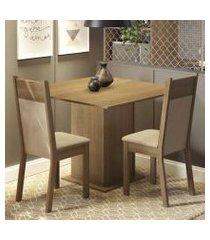 conjunto sala de jantar madesa drica mesa tampo de madeira com 2 cadeiras rustic/crema/pérola rustic/crema/pérola