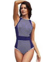 bañador para mujer blanco a rayas azules