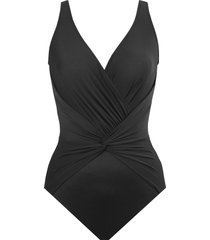 miraclesuit(r) rock solid twist front one-piece swimsuit, size 16 in black at nordstrom