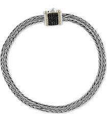 effy black diamond barrel cluster woven link bracelet (1/5 ct. t.w.) in sterling silver & 18k gold