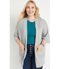 maurices plus size womens gray oversized duster cardigan