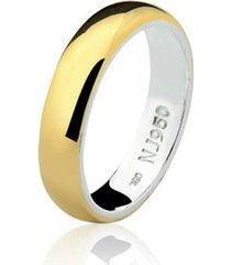 aliança mista ouro 18k e prata 925 styllo natalia joias alm-153