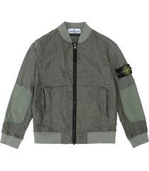 stone island salvia ripstop hoodless jacket