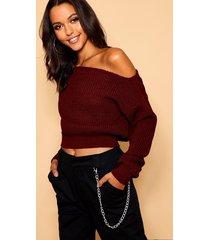 slash neck crop fisherman sweater, burgundy