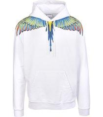 marcelo burlon man white and blue wings hoodie