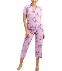charter club printed cropped pajama pants set, created for macy's