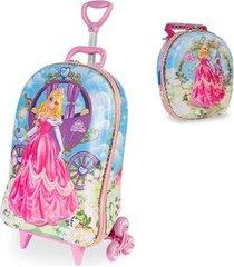 kit mochila princesa meg 3d com rodinhas+ lancheira maxtoy