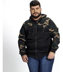 jaqueta moletom plus size camuflada besni masculina