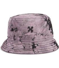 men's off-white tie dye cotton denim bucket hat -