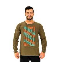 camiseta manga longa moletinho mxd conceito don't believe me just watch masculina