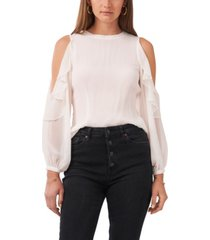 1.state ruffle pleat cold shoulder top