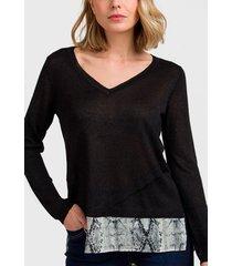 sweater ash liso con capa en gasa negro - calce regular