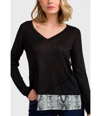 sweater ash liso con capa en gasa negro - calce regular