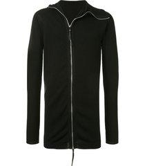 boris bidjan saberi slit-cuff zip-through sweater - black