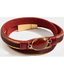 tamara leatherette wrap bracelet - wine