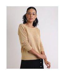 suéter de tricô feminino decote canoa bege