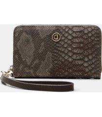 rectangular wallet reptile skin effect - brown - u