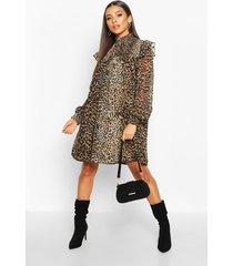 high neck shirred top swing dress, leopard