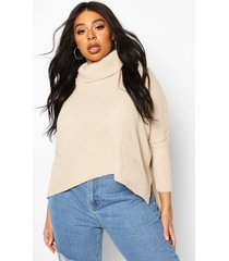 plus roll neck sweater, stone