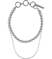 marine serre double layer hybrid necklace - silver