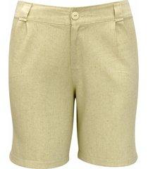 shorts pau a pique de linho cru
