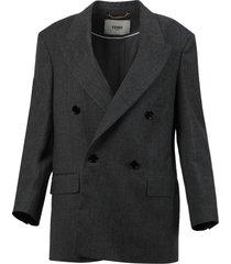 double breasted blazer jacket, grey