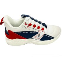 tenis moda  blanco-azul-rojo- caballero eclipse-ax3-wh