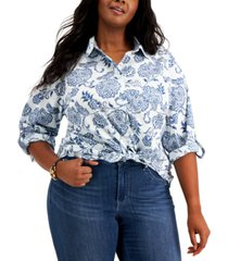 tommy hilfiger plus size roll tab floral button down blouse