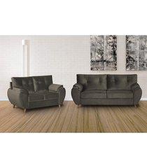 conjunto de sofã¡ 3 e 2 lugares cama inbox atlanta 2,00x1,50m tecido suede velusoft cafã© - incolor - dafiti