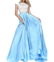 fanmu cap sleeve a line lace satin prom dresses evening gowns blue us 26plus