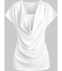 cowl neck plain t-shirt with cami top