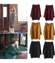 women knitted oversized batwing sweater sleeve tops pullover coat loose outwear