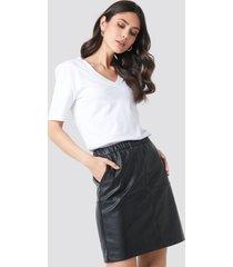 na-kd party pu zip mini skirt - black