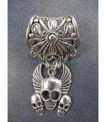 us seller-triple skull pendant slider scarf diy