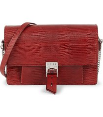 reiss women's mini aubrey textured leather crossbody bag - red