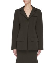'invested in me' padded shoulder blazer