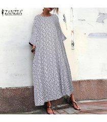 zanzea mujeres batwing del lunar kaftan larga camisa de vestir de cuello redondo vestido de midi plus -blanco