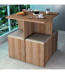 mesa de jantar 4 lugares castanho/bege con1201 - appunto