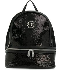 philipp plein junior mochila com logo - preto