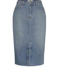 denim medium midi knälång kjol blå hollister