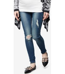 articles of society maternity distressed medium wash skinny jeans