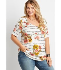 maurices plus size womens 24/7 flawless white floral stripe tunic tee