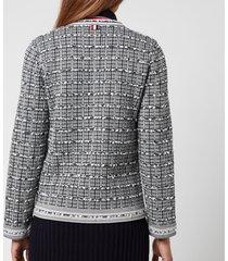 thom browne women's crewneck cardigan in windowpane jacquard - tonal grey - it 42/uk 10